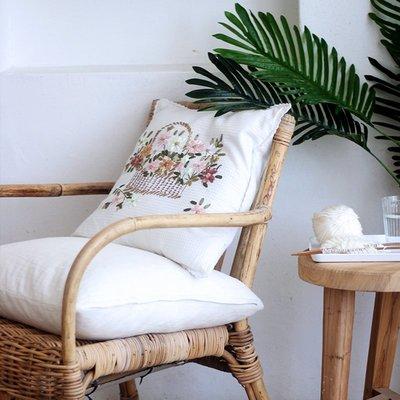 刺繡抱枕 繡布打結 外貿白色 清新沙發 抱枕靠枕 經典復古 小資靠墊 抱枕