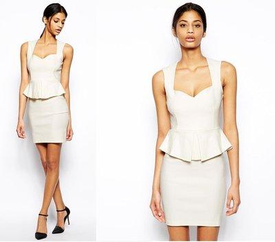 (嫻嫻屋) 英國ASOS-Vesper時尚名媛甜心領荷葉邊腰部設計米白色洋裝  OL/婚禮/音樂會 現貨UK8 UK10