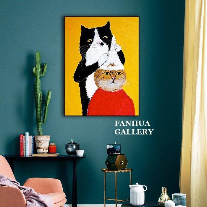 C - R - A - Z - Y - T - O - W - N 貓咪理髮師現代簡約幽默搞笑創意版畫可愛貓咪裝飾畫賓士貓虎斑貓掛畫文藝清新溫馨兒童房間壁畫牆畫