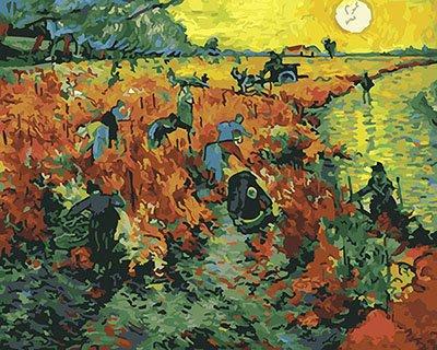 ArtLife藝術生活 DIY 彩繪 數字油畫 裝飾畫【DT201】阿爾的紅色葡萄園_梵谷 40*50cm