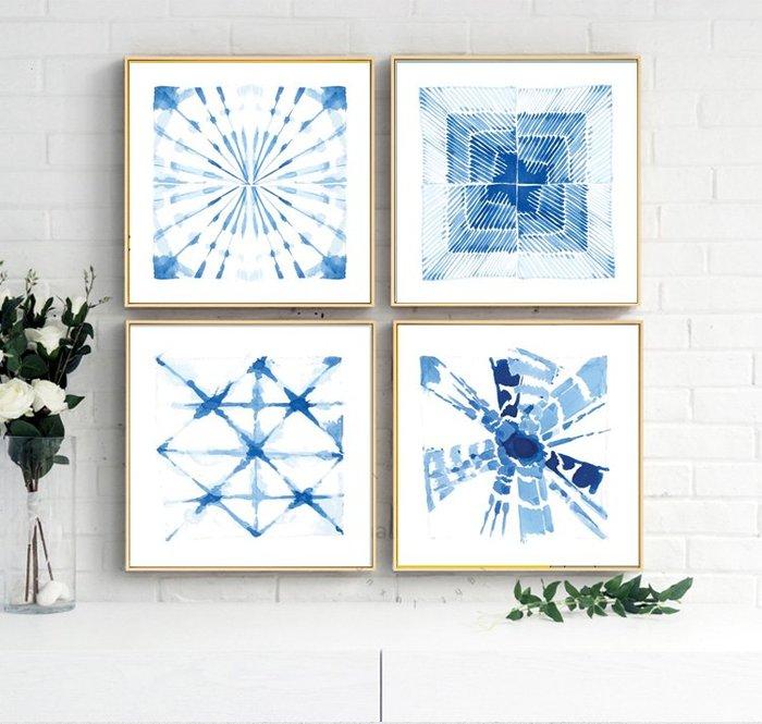 簡約藍色抽象形意圖形系列客廳臥室裝飾畫芯高清微噴打印壁畫(4款可選)