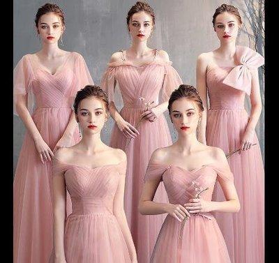 婚禮洋裝 小禮服 伴娘服 中長款顯瘦韓版粉色伴娘團晚禮服 畢業洋裝 主持宴會服 尾牙洋裝 莎芭