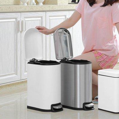 不銹鋼垃圾桶 家用腳踏式 10L 衛生間廚房客廳垃圾桶 歐式時尚 創意靜音 垃圾筒7642