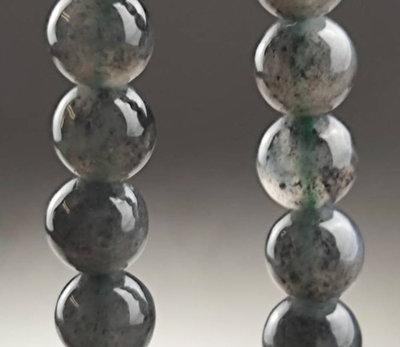 鳳崗文創---{翡翠1287}----翡翠A貨—附證---冰玻種墨玉珠鍊---珠徑尺寸:0.6公分