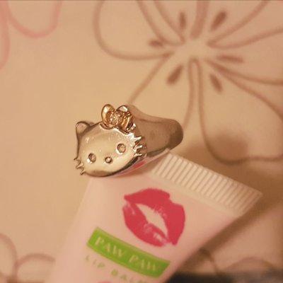 Hello Kitty 2000年 SV925銀戒指 附K18金0.02鑽石蝴蝶結