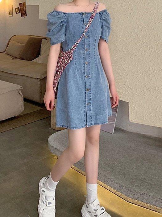 ☆女孩衣著☆一字肩連衣裙女夏季裙子2020年新款夏天氣質收腰顯瘦小個子牛仔裙(NO.43)