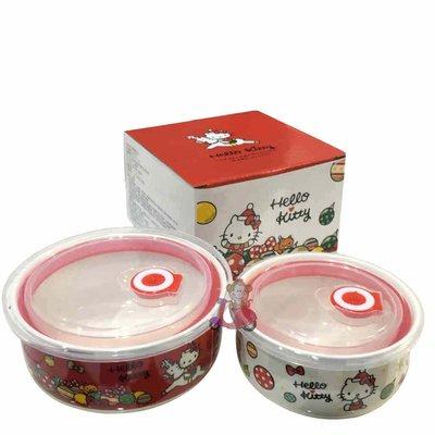 {阿猴達可達生活館} 漢神百貨限定 Hello kitty 甜蜜聖誕保鮮碗(一組2入盒裝) 全新特價200元 授權款
