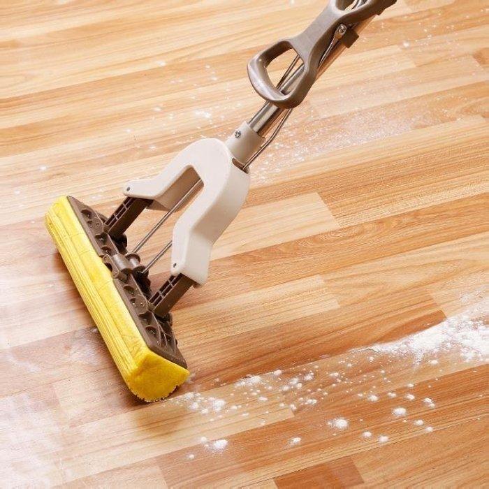 雨晴嚴選 居家用不銹鋼桿海棉吸水拖把膠綿拖把頭對折擠水可拉伸地板拖免手洗YQ565
