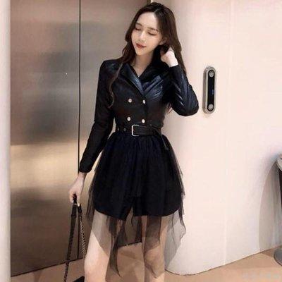好物多商城 秋裝新款小香風網紗拼接PU皮裙子西裝領雙排扣長袖連衣裙女裝