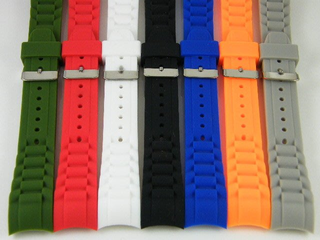 【錶帶家】圓弧彎頭防水矽膠錶帶20mm 或 22mm 代用 ICE WATCH 勞力士 SEIKO 星辰 BALL OM