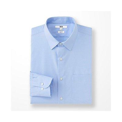日本 UNIQLO 長袖 素面 商務襯衫 SLIM FIT EASY CARE加工 襯衫 藍色 SIZE:M號