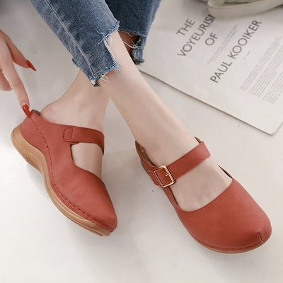 2020夏季新款舒適防滑新款半拖女 時尚休閑包頭半新涼拖鞋高跟女涼鞋子XK-005