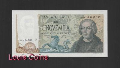 【Louis Coins】B101-ITALY-1971-77義大利鈔票5.000 Lire哥倫布