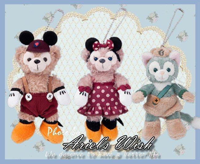 Ariel's Wish-日本東京迪士尼萬聖節裝扮派對Duffy達菲熊米奇雪莉玫米妮站姿珠鍊吊飾別針掛飾-兩款各一絕版款