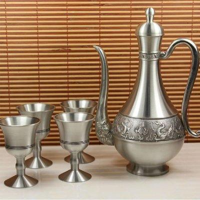 新款祥龍錫器酒具錫壺純錫高腳酒杯錫器錫罐錫制酒壺酒杯銀杯銀壺