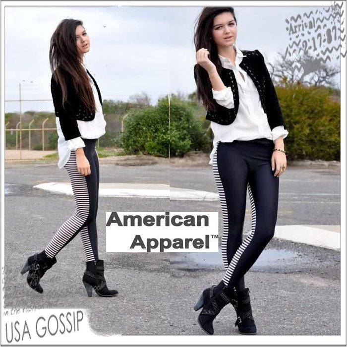 ㊣ 美國八卦小報 ㊣ American Apparel AA 黑白雙面條紋內搭褲/LEGGING S號現貨在台