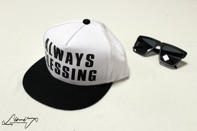 ALWAYS BLESSING 白色 鴨舌帽 棒球帽 潮流 百搭 韓版 內刻字 質感 情侶帽 【LtLf】
