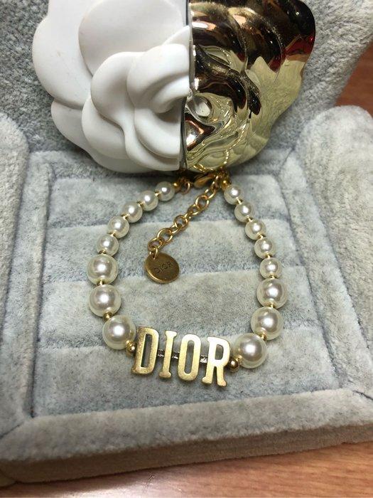DIOR 經典 二手 珍珠 字母 造型 手鍊
