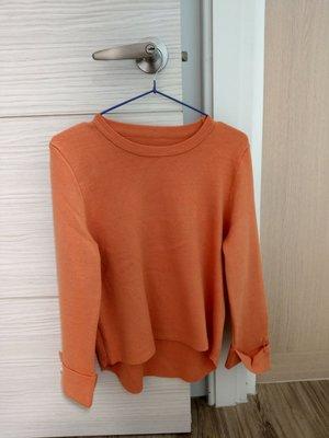 【99%新】韓版粉橘色超氣質反摺珍珠釦針織上衣 iroo moma zara mihara 正韓連線 現貨
