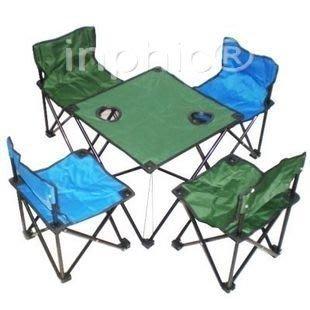 INPHIC-便攜式折疊椅桌組合套裝(4椅1桌) 配小號折疊凳 釣魚椅