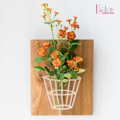 ☆[Hankaro]☆ 創意清新田園風格木質繞線仿真花藝掛飾(橙花)