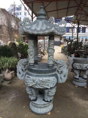 青斗石天公爐 帶香爐蓋  (爐口外徑2尺)