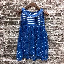 Maple麋鹿小舖 Abercrombie&Fitch * AF 寶藍色無袖雪紡點點上衣*( 現貨L號 )