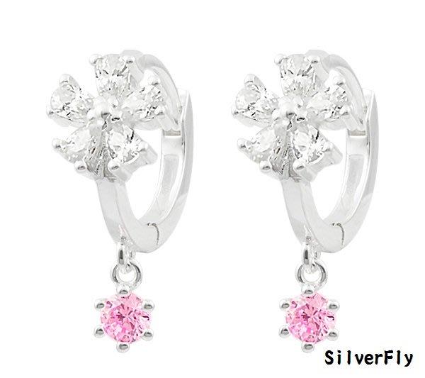 鑽花純銀易扣耳環-白+粉《 SilverFly銀火蟲銀飾 》