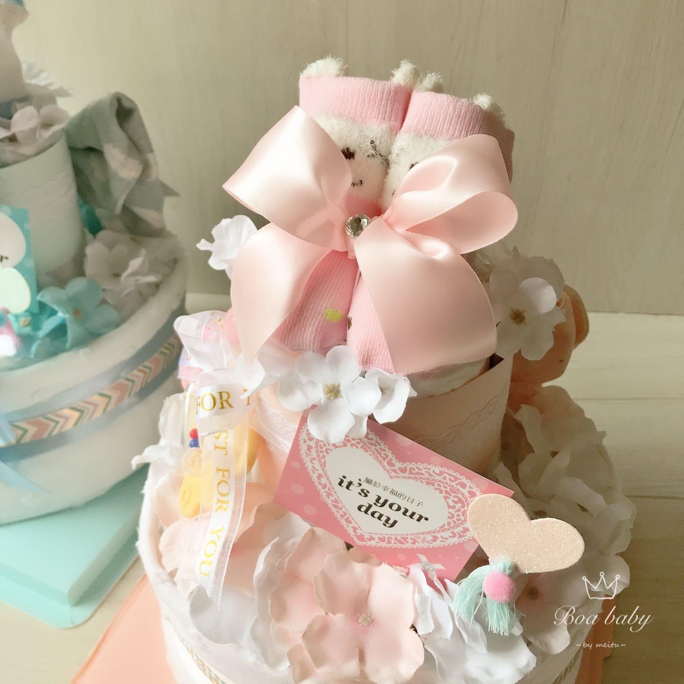 🏃♀️快速出貨免運費🎀韓系夢幻Boa經典款尿布蛋糕彌月滿月禮