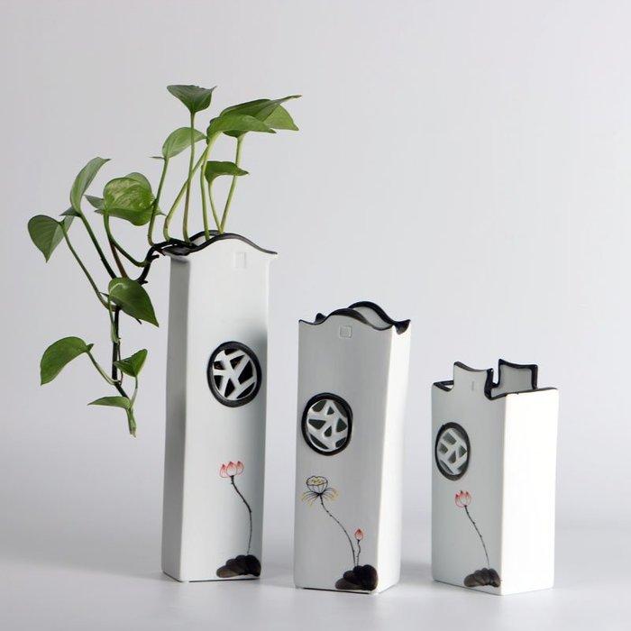 熱賣泥摳新中式復古干花陶瓷花瓶房子擺件創意家居裝飾電視柜水培花器#擺件#陶瓷#北歐