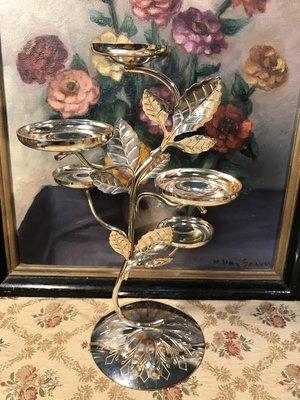 歐洲古物時尚雜貨  造型燭台 金屬浮雕葉片 造型燭台 擺飾品 古董收藏