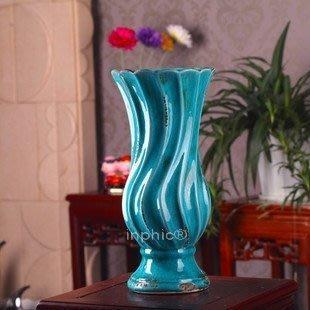 INPHIC-歐式藍色地中海風陶瓷復古冰紋花瓶 配仿真花 臺面擺放花器歐式鄉村