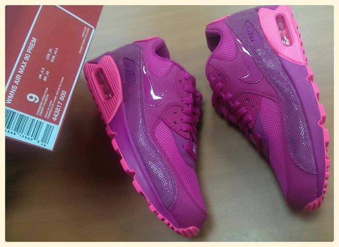 全新正品 Nike WMNS Air Max 90 Premium 443817-600 桃紅 復古慢跑 US.9=26