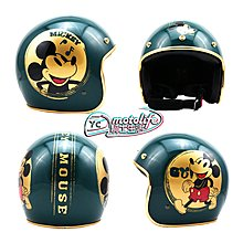 YC騎士生活_EVO安全帽 米奇 精裝版 復古綠 金邊 金米奇 復古帽 3/4罩 半罩 臺灣製造 迪士尼 正版授權