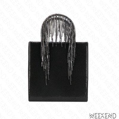 【WEEKEND】 KARA 黃銅 玻璃水晶 流蘇水晶鍊條 手提包 托特包 黑色