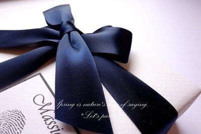 5公尺價 / 25mm 緞帶 深藍 海軍藍 Navy Blue 光澤緞帶 雙面緞帶 包裝 生日 情人節