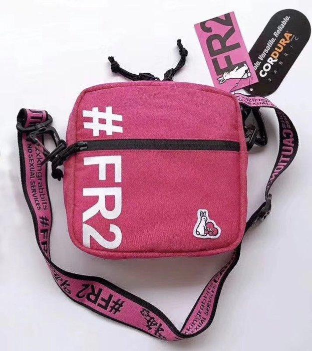 日本潮牌FR2 CORDURA 粉紅色兔仔梅花主题限定 織帶斜肩包