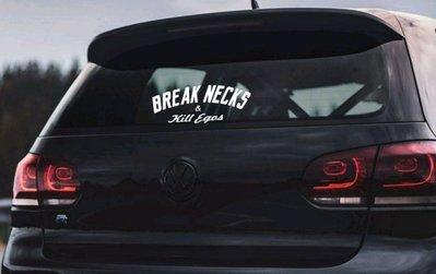 【小韻車材】GOLF BREAK NECKS VW 福斯 車貼 JDM 汽車 貼紙 防水 後擋玻璃