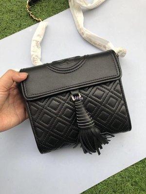 Alina精品代購 TORY BURCH 美國輕奢時尚 新款流蘇羊皮菱格鍊條包  美國代購