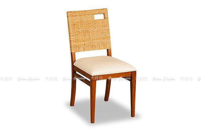 柚木 藤編餐椅【大綠地家具】100%印尼柚木實木/經典柚木/單人椅/休閒椅/皮椅墊