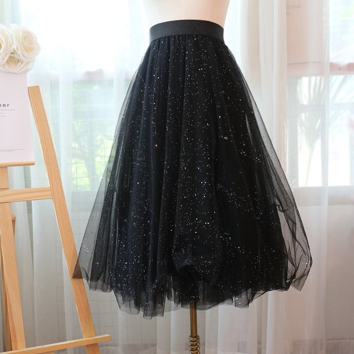 KO 韓國熱賣 赫本風閃閃星星精品韓國進口材質三層閃亮星紗網紗長裙
