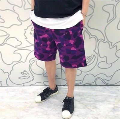 正品 A Bathing Ape Bape Shark Shorts 鯊魚 短褲 純色 迷彩 休閒 運動 男女