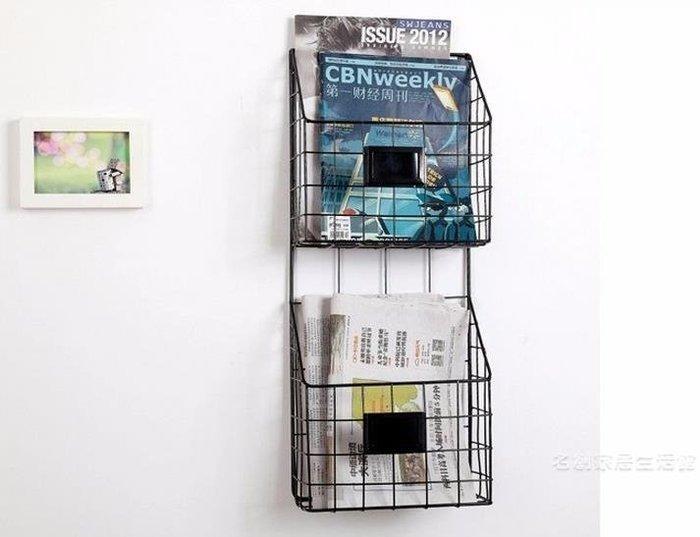 鐵藝壁掛書架雜志架墻壁報刊架書報架報紙架 簡約客廳壁掛創意尾牙