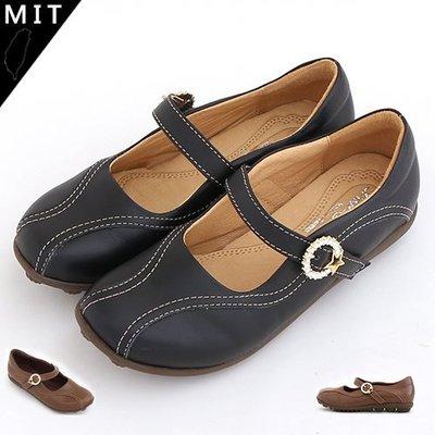娃娃鞋 星星水鑽釦飾橫帶精緻縫線手工真皮寬頭娃娃鞋 休閒平底鞋 MIT製造 丹妮鞋屋