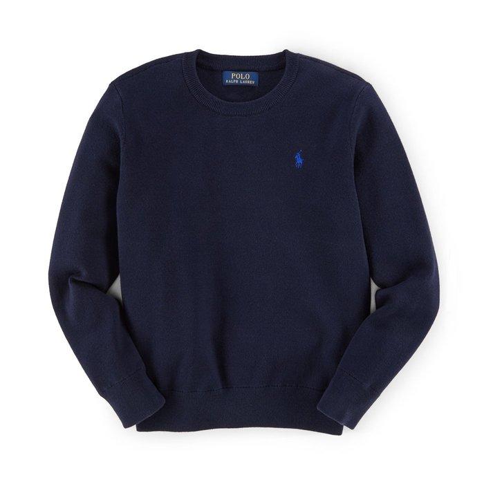 美國百分百【Ralph Lauren】針織衫 RL 線衫 長袖 Polo 小馬 圓領 素面 男 深藍 S號 F895