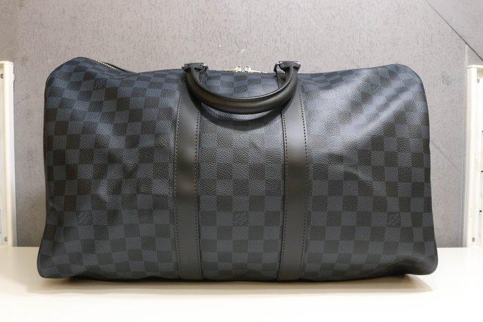 【青蘋果3C】路易威登 LV KEEPALL 45 N41349 藍黑色棋盤格 手提 斜背包 行李袋 #44945