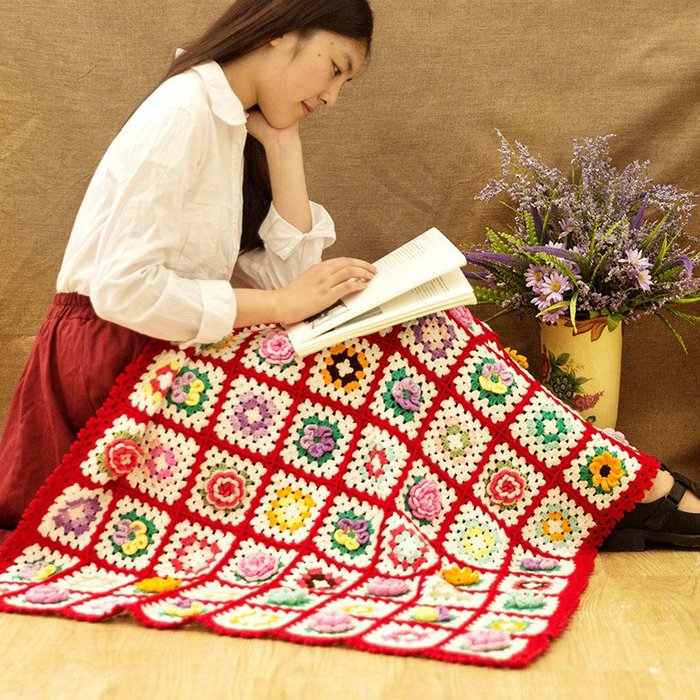 聚吉小屋 #蘇蘇姐家祖母花園毯 手工diy編織拼花毯手編鉤針棉線中粗線材料包