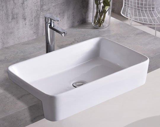 《101衛浴精品》59CM 長方型 抗污陶瓷 半嵌盆 方型盆 導圓角【全台大都會免運費 可貨到付款】