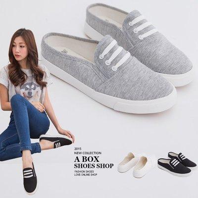 格子舖*【KRJ-1052】白色37 夏季韓版簡約超柔軟 造型鞋帶設計舒適 套腳鞋 帆布鞋懶人半拖