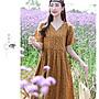 2020夏季碎花棉麻高腰V領連衣裙~黃色 / 綠色/咖啡色 ~M.     L.    XL.    2XL *愛自然* Vegan Shop